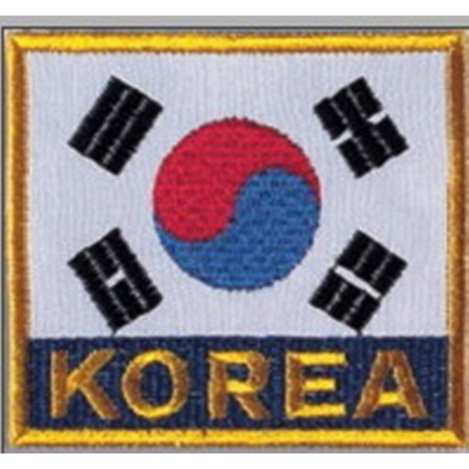 Sewn badge Flag Korea 8x8 cm