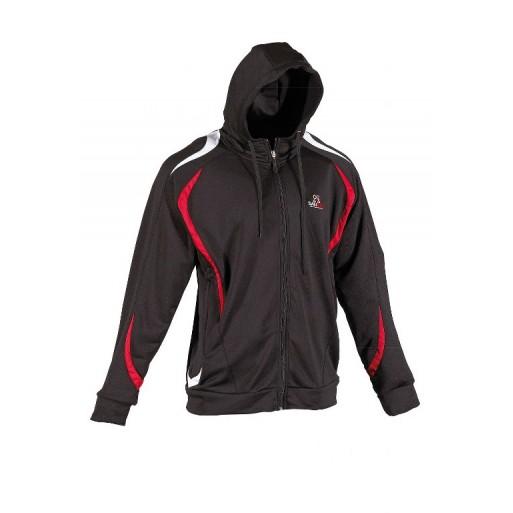 Zgornji del trenerke s kapuco, unisex,črno-rdeč