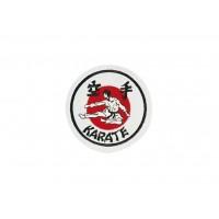 Sewn badge Karate white/red/black